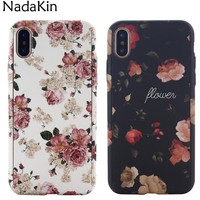 360 Coverage Protection Hard Case for iPhone X 8 7 6S 6 5 5S SE Full Body Flower Marble Stone Painted Cover with Tempered Glass