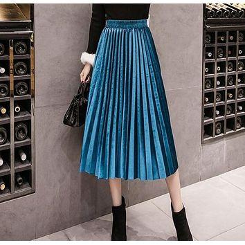 323dedc39bce0 2018 Autumn Winter Velvet Skirt High Waisted Skinny Large Swing Long  Pleated Skirts Metallic Plus Size