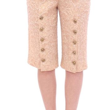 Pink silk baroque pattern shorts pants