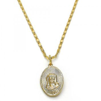Gold Layered Fancy Necklace, Guadalupe and Jesus Design, Golden Tone
