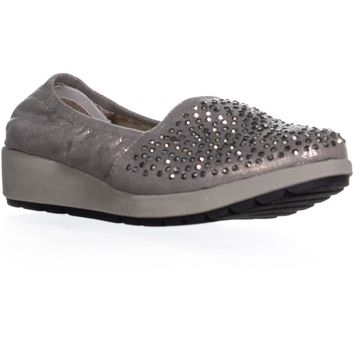 White Mountain Lewis Sequined Slip On Flats, Gunmetal/Metallic, 8 US