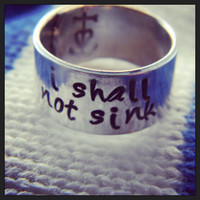 I shall not sink anchor hand stamped inside aluminum ring