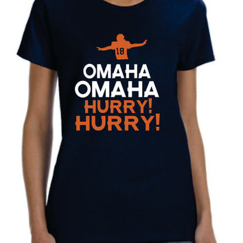 Omaha Omaha Hurry Hurry Broncos Mens T-shirt Denver Colorado  nfl  football Peyton Manning
