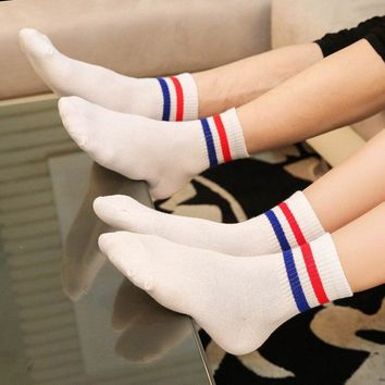 New Design Two Striped  Socks Lovers Women Men Cotton Blue Black  White Mint Green  Meias Calcetines Mujer