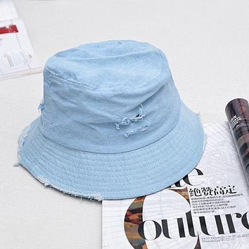 2017 Leisure Outdoor Cowboy Hole Do Old Fisherman Hat Men Women Bucket Cap Sun Hat Unisex Denim Blue Fashion For Summer Foldable