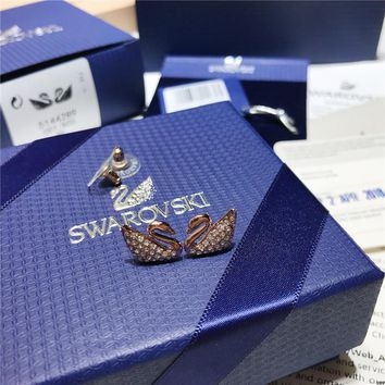 DCCK2 S002 SWAROVSKI Classic Rose Gold Swan Crystal Perforated Stud Earrings