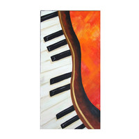 Original Painting, DANCING PIANO, 10x30 Original Acrylic Canvas, Home Decor