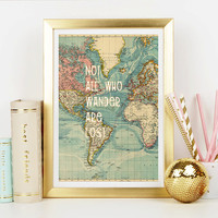 Wanderlust World Map Art Print - Home Decor - Wall Art - Art Print