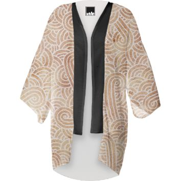 Iced coffee and white swirls doodles Kimono