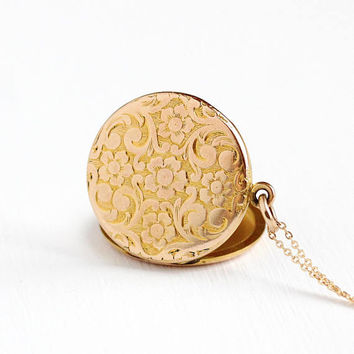 Antique Rosy Yellow Gold Filled Edwardian Monogrammed Flower Locket Necklace - Vintage Art Nouveau Round Floral Pendant Initials Jewelry