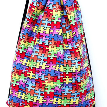 Child's Drawstring Backpack, Autism Puzzle Pieces, Fully Lined Drawstring Backpack, Autism Awareness