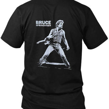 Bruce Springsteen 2 Sided Black Mens T Shirt