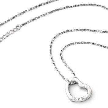20mm Diamond Heart Slide Necklace in Rhodium Plated Silver, 18-20 Inch