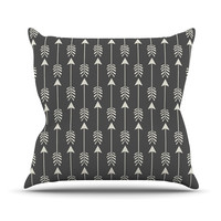 "Amanda Lane ""Tribal Arrows Dark Gray"" Outdoor Throw Pillow"