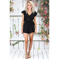 Ruffled Short Sleeve Surplice Romper {Black}