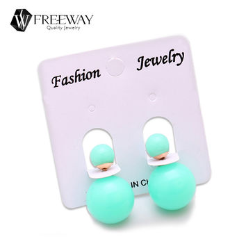 Hot 18 Colors Double Side Piercing Earrings Simulated Pearl Statement Ball Stud Earrings Multicolor Female Jewelry Accessories