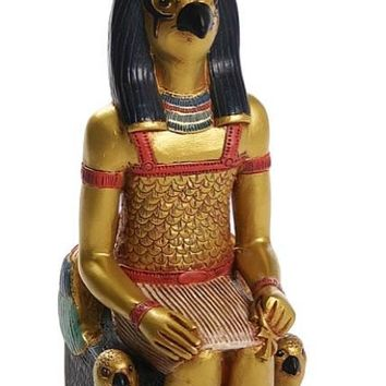 Horus Seated on Eye of Horus Falcon Throne Egyptian Statue 10H