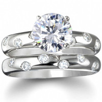 Sterling Silver 2 carat Round Cut CZ Etoile Wedding Ring set size 5-9