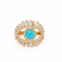 Luxury Turkish evil eye jewelry ring Gold color Baguette clear cz blue turquises main stone cute women finger rings