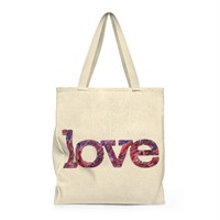 Love Shoulder Tote Bag, Tote Bag, Canvas Bag, Canvas Tote Bag, Love Tote Bag, Abstract Art Bag, Gift for Her, Gift Bag, Accessory, Women Bag