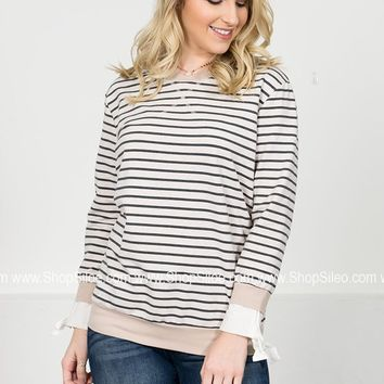 Ribbon Striped Ivory Sweater