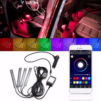 1Set 9LED RGB Car Interior Decorative Floor Atmosphere Lamp Light Strip Smart Intelligent Wireless