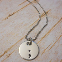 "5/8"" Semicolon Charm Adjustable 18"" - 22"" Necklace Depression Mental Health Support Awareness"