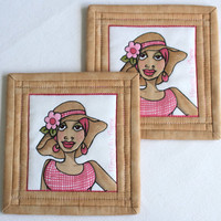 Coasters Quilted fabric coasters Pink Cocoa coasters On the mend Loralie Breast Cancer Awareness
