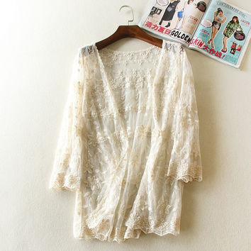 Women Lace Embroidery Blouse Shirt Cardigan Manteau Femme Mori Girl Lolita Lace Shirt Tricot Tunic Boho Mori Tunic Tops Clothing