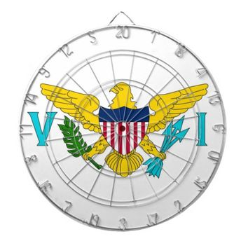 Dartboard with Flag of Virgin Islands, USA