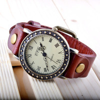 Vintage Style Genuine Real Cow Leather Bracelet Watch