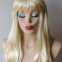 SUMMER SPECIAL :)) Classic Blonde with bangs wig. Long Straight Layers hair with bangs wig. High quality synthetic wig.