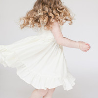 Girls White / Ivory Dress Flower Girl dress , toddler, beach outfit, Size 12/18 months 2t 3t 4t 5 6 7 8