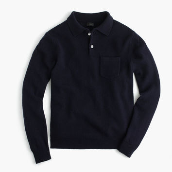 Lambswool long-sleeve polo sweater
