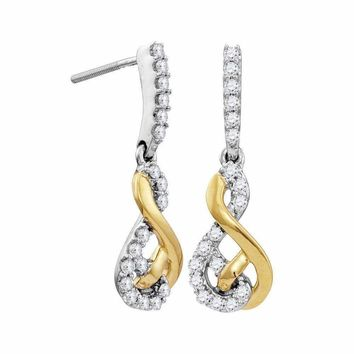 10kt Two-tone White Yellow Gold Women's Round Diamond Dangle Earrings 1-2 Cttw - FREE Shipping (US/CAN)