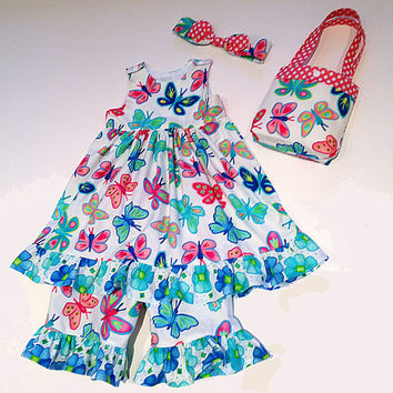 2T dress toddler outfit party dress & ruffle capris toddler purse and headband special occasion birthday dress butterfly outfit little girl