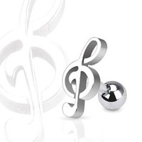 "Stainless Steel Treble Clef Music Note Tragus and Cartilage Piercing Stud - 16GA 1/4"" Long (Sold Ind.)"