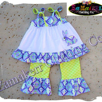 Girl Purple Easter Bunny Outfit Top Pant Set Toddler Baby Birthday 1st  Custom Boutique Clothing Size bc8cac09f