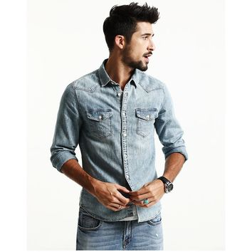 Men's Casual Denim Long Sleeve Shirt