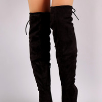 Over-The-Knee Suede Chunky Heel Boots