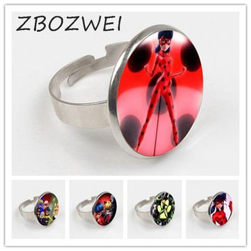 ZBOZWEI New Miraculous Ladybug Ring Adrien Marinette Figure Toys Ring Lady Bug Cat Noir Juguetes Christmas Gift oyuncak gift