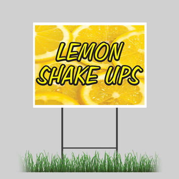 """18""""x24"""" Lemon Shake Ups Yard Sign Icy Cold Drinks Concession Stand Sign"""