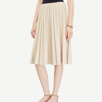 Pleated Faux Leather Skirt | Ann Taylor