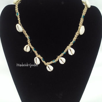 Natural colored hemp necklace with shells/ Florida choker necklace with shells