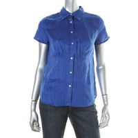 Lauren Ralph Lauren Womens Linen Pintuck Button-Down Top