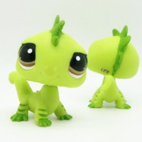 Original 1pc LPS cute toys Lovely Pet shop animal dinosaur green action figure littlest doll