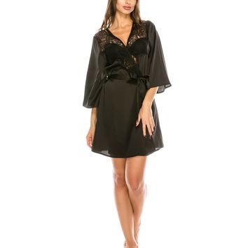 Black Satin Robe With Lace