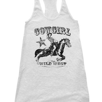 COWGIRL Tank Top Dress American Apparel Racerback Hand Screen Printed Available S M L 3 Color Options