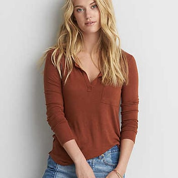 AEO Long Sleeve Henley T-Shirt , Bronze