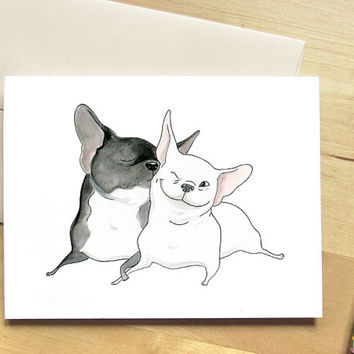 Frenchie Kiss French Bulldog Card - Cute Card with Dogs, Unique I Love You Card, Anniversary Card, Cute Dog Card, French Bulldogs in Love